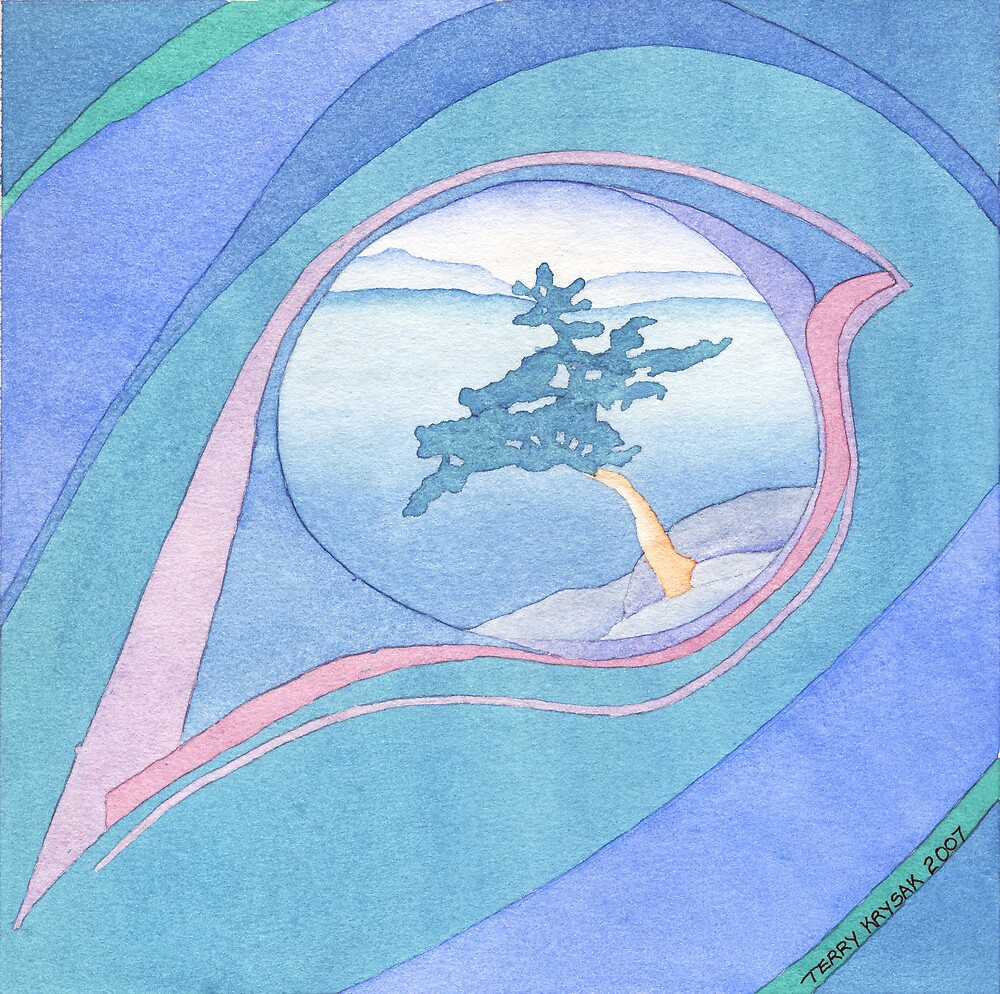 Eye Of The Totem-Watercolor Painting After the Photograph by Flickr Photographer Tim Ennis by Terry Krysak