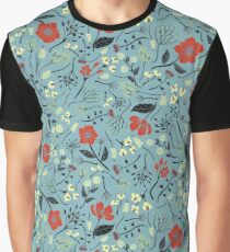 Blue, Orange & White Floral/Botanical Print Graphic T-Shirt