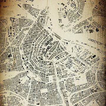 Amsterdam Streets and Buildings Antic Map Vintage Design by FRTcreative