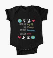 Peace Birthplace Earth Race Human Politics Religion Love Gift Short Sleeve Baby One-Piece
