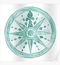 Watercolor Compass green Poster