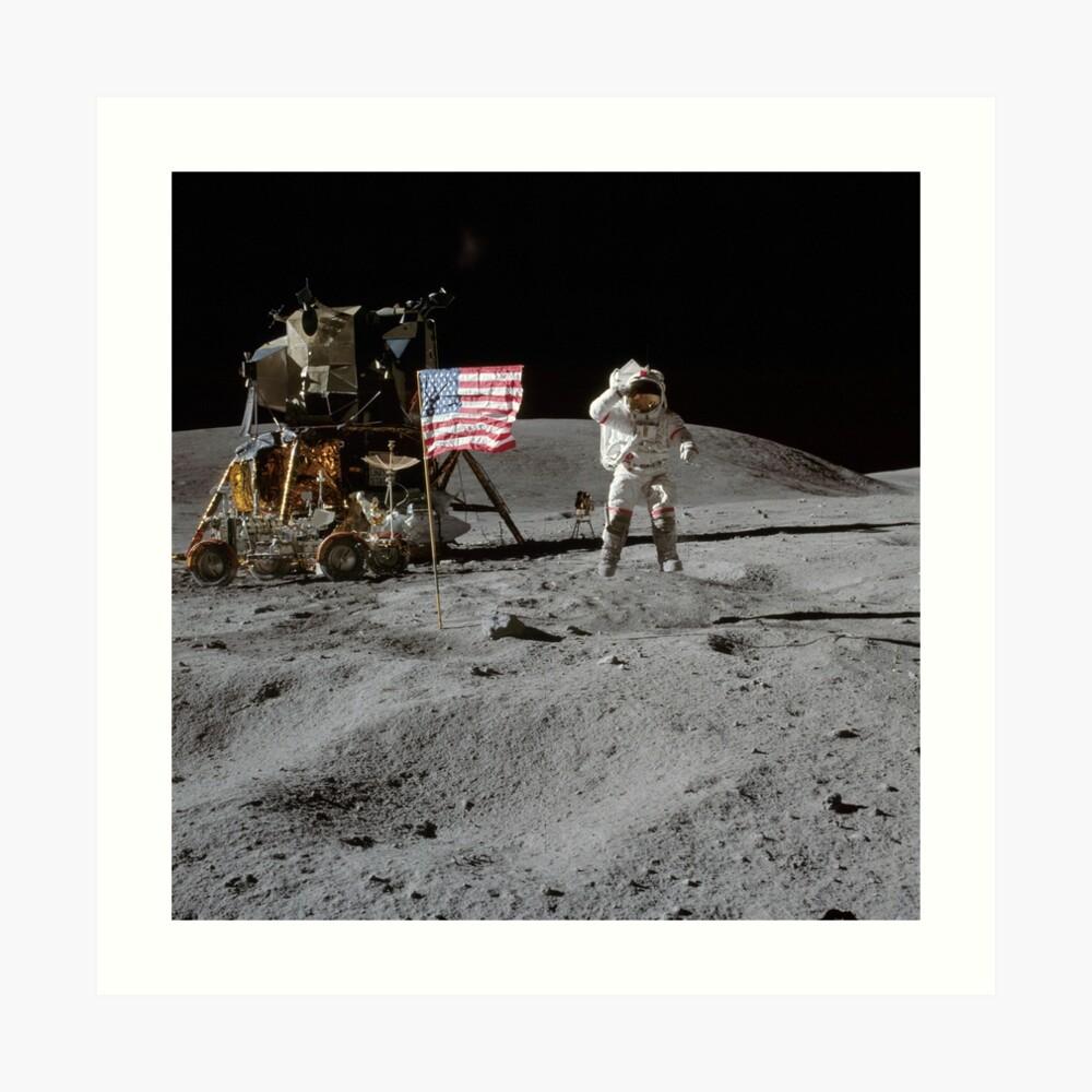 Astronaut und amerikanische Flagge Apollo Mond Mission Kunstdruck