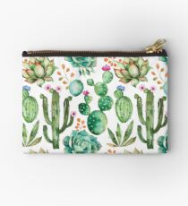 Watercolor Cactus Pattern Studio Pouch