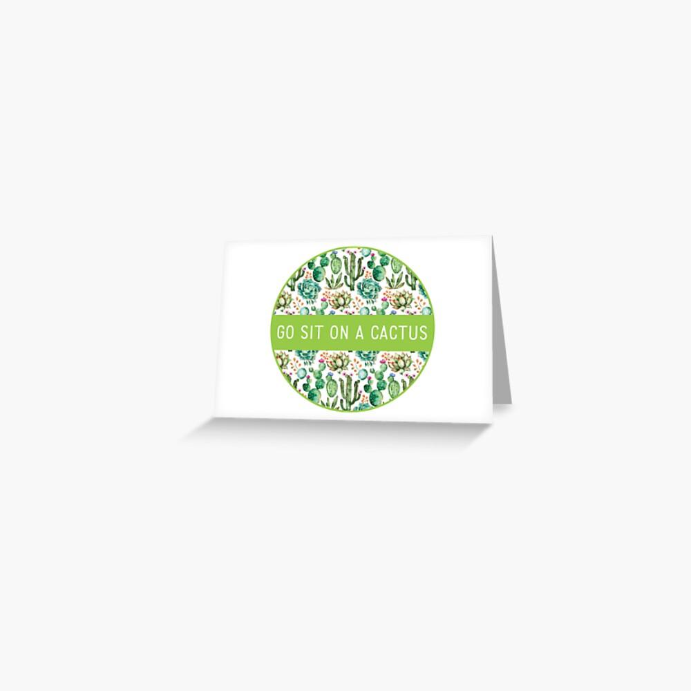 Watercolor Cactus Pattern Greeting Card
