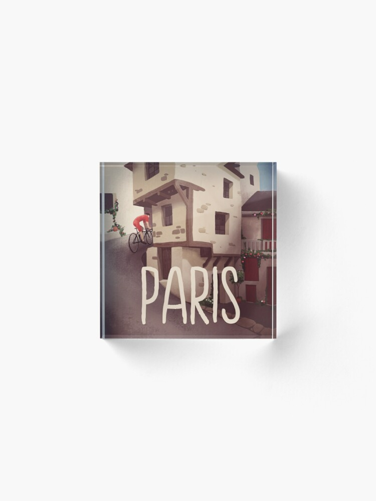 """Alternate view of """"Paris"""" Cyling Poster Acrylic Block"""