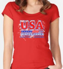 USA 2018 Winter Games US South Korea Sports T-shirt Women's Fitted Scoop T-Shirt