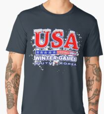 USA 2018 Winter Games US South Korea Sports T-shirt Men's Premium T-Shirt