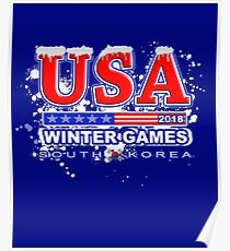 USA 2018 Winter Games US South Korea Sports T-shirt Poster