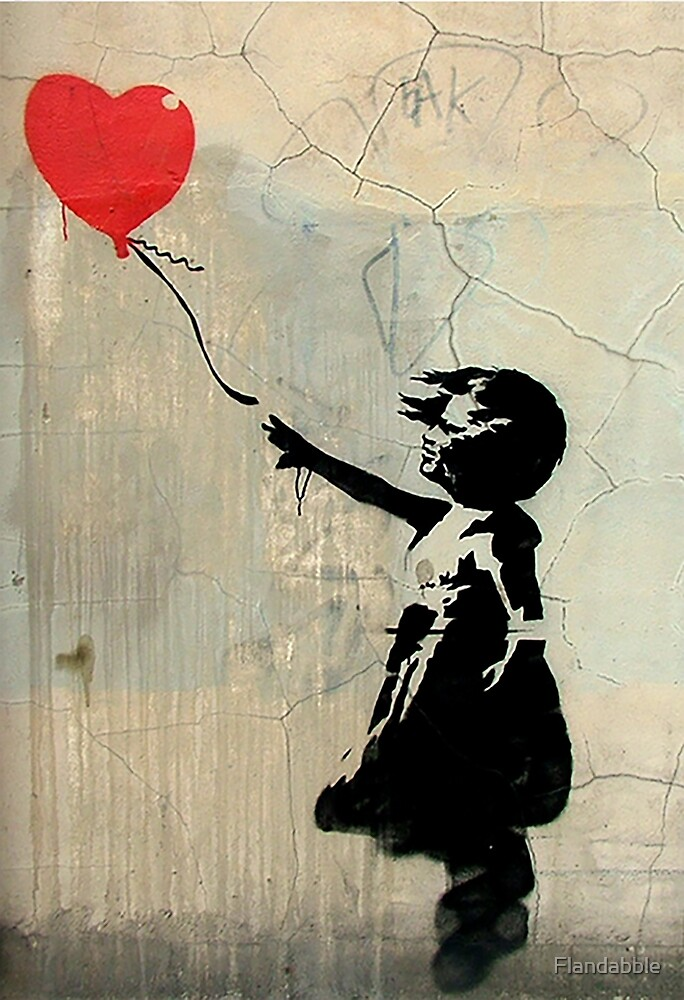 Banksy Red Heart Balloon by Flandabble