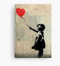 Banksy Red Heart Balloon Canvas Print