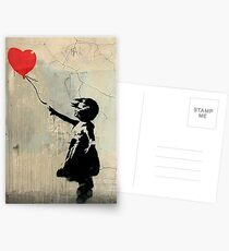 Banksy Red Heart Balloon Postcards