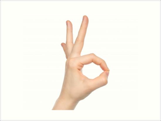 ok hand sign art prints by tsuki828 redbubble