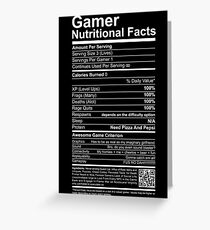 Gamer Nutritional Facts Greeting Card