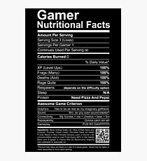 Gamer Nutritional Facts Photographic Print