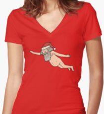 Rick & Morty - Giant Naked Sky Santa! Women's Fitted V-Neck T-Shirt