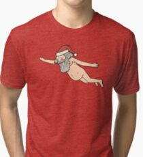 Rick & Morty - Giant Naked Sky Santa! Tri-blend T-Shirt