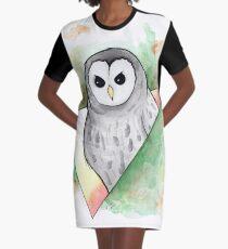 Watercolour Barred Owl Illustration Graphic T-Shirt Dress