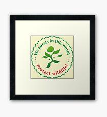 """Emblem """"Protect wildlife!"""" Framed Print"""