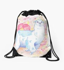 Cute Llama Illustration - Watercolour Animals Drawstring Bag