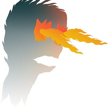 Abstract illustration of fictional character, that is a flying head with fire from the eyes by dzhura