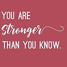 You are STRONGER than you know. by designedtolove