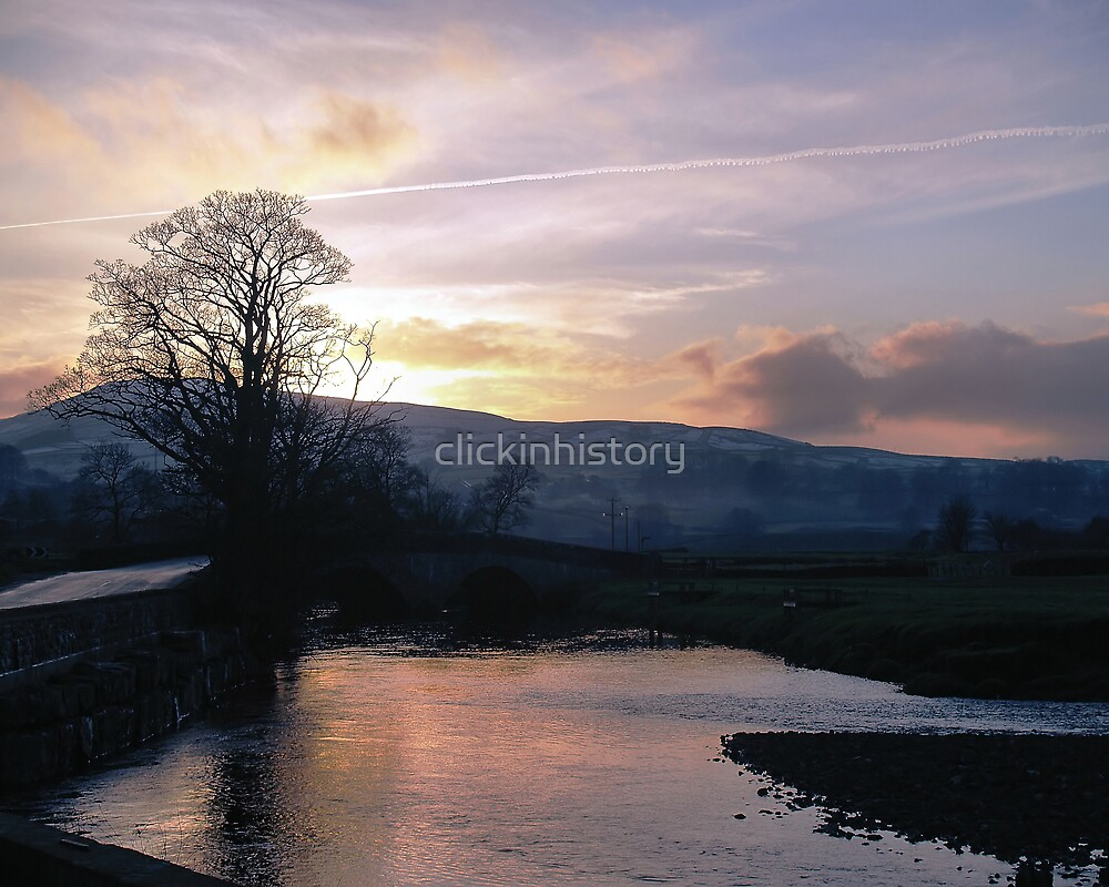 Sunset over snow and Hawes by clickinhistory