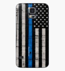 Polizei blaue Linie Flagge Hülle & Klebefolie für Samsung Galaxy