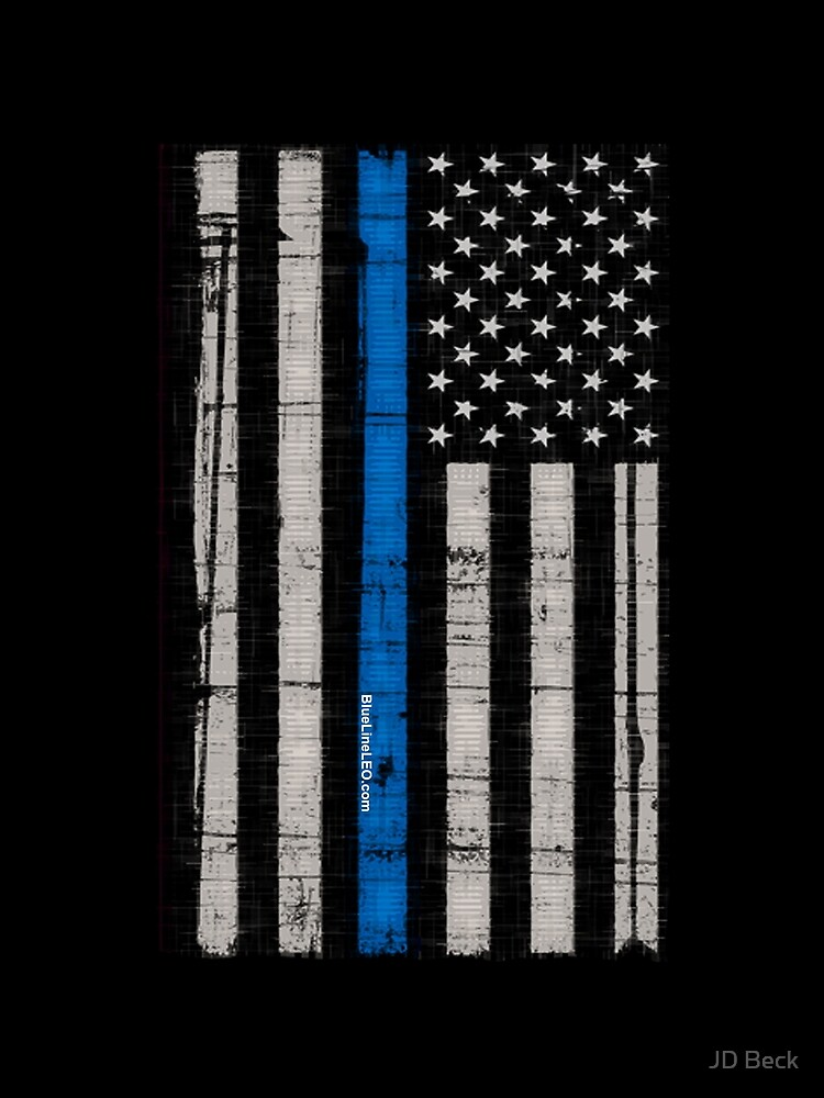 Police blue line Flag by thelight