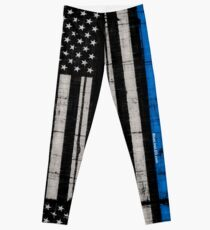 Police blue line Flag Leggings