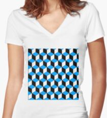 Isometric - Black and Blue  Women's Fitted V-Neck T-Shirt