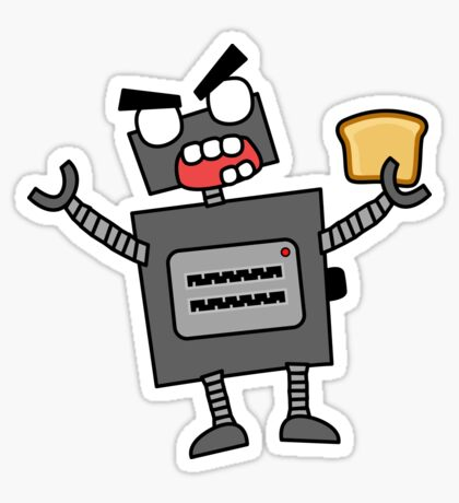 angry zombie robot toaster Glossy Sticker