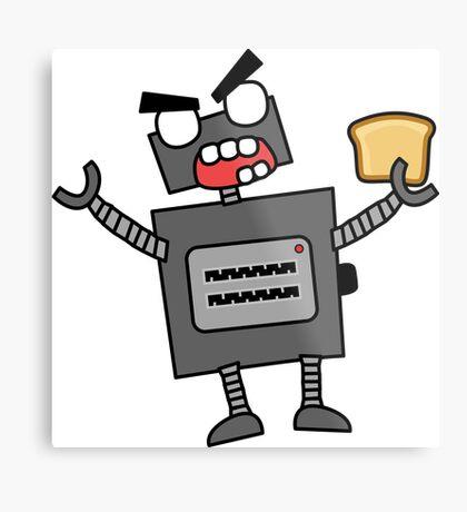 angry zombie robot toaster Metal Print