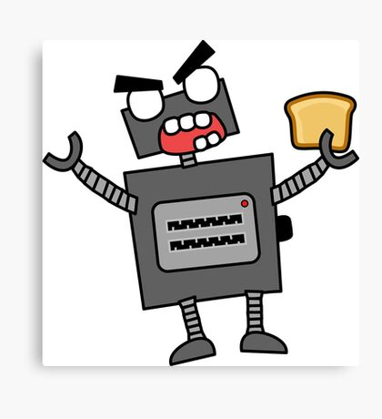 angry zombie robot toaster Canvas Print