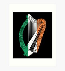 Ireland Flag Irish Harp St. Patrick's Day Art Print
