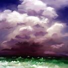 Stormy Warning - Impressionist Ocean painting by Michelle Wrighton by Michelle Wrighton