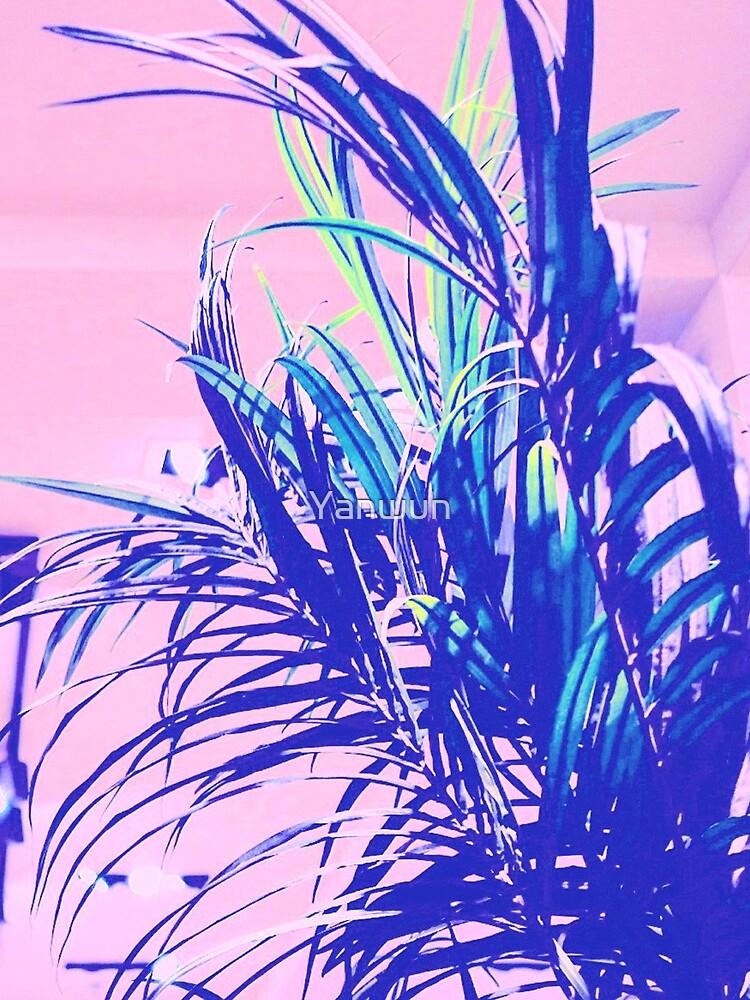 neon tropics indoor plants 90s nostalgic photography by Yanwun