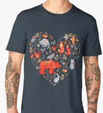 Fairy-tale forest. Fox, bear, raccoon, owls, rabbits, flowers and herbs on a blue background. Men's Premium T-Shirt