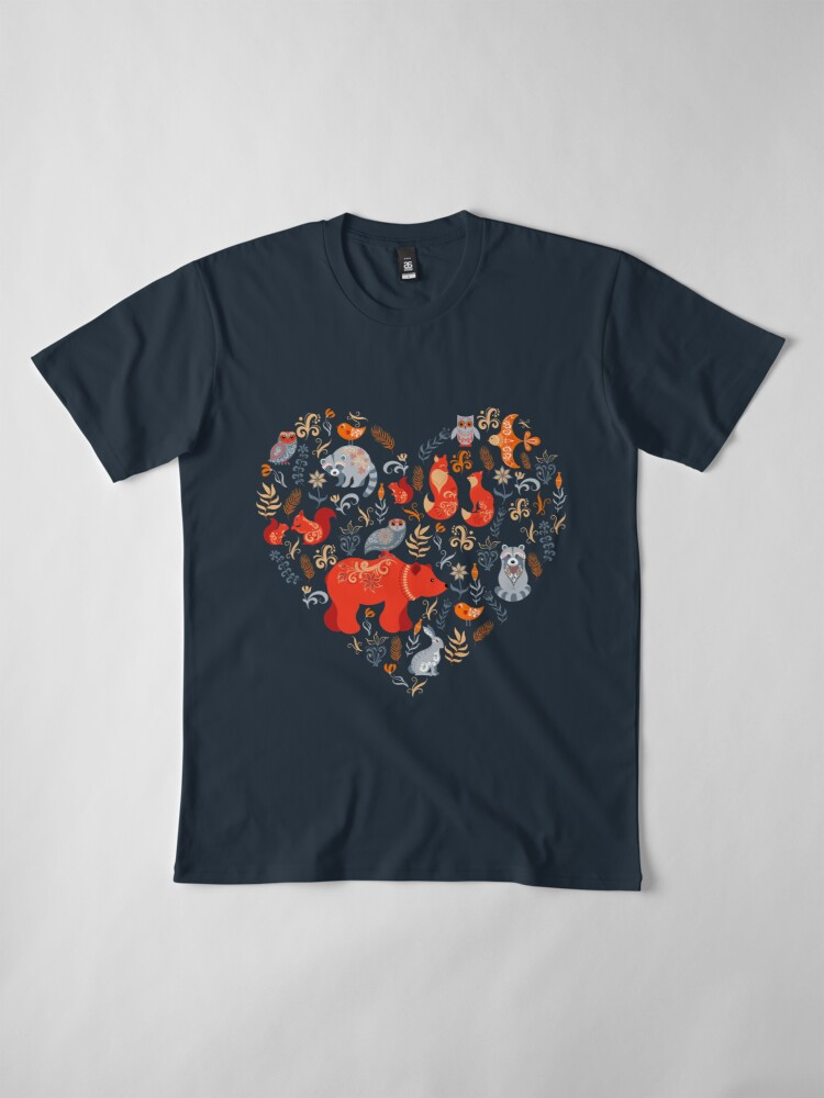 Alternate view of Fairy-tale forest. Fox, bear, raccoon, owls, rabbits, flowers and herbs on a blue background. Premium T-Shirt