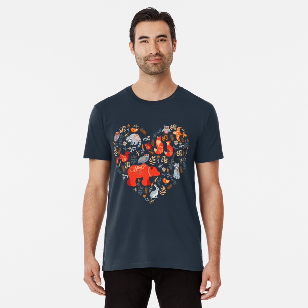 Fairy-tale forest. Fox, bear, raccoon, owls, rabbits, flowers and herbs on a blue background. Premium T-Shirt