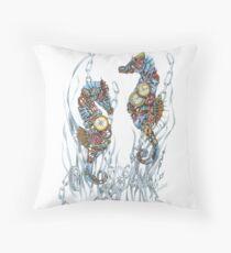 Sea Horse Treasures Throw Pillow