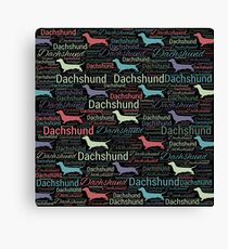 Dachshund silhouette and word art pattern Canvas Print