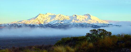 First Light on Ruapehu by Adam Gormley