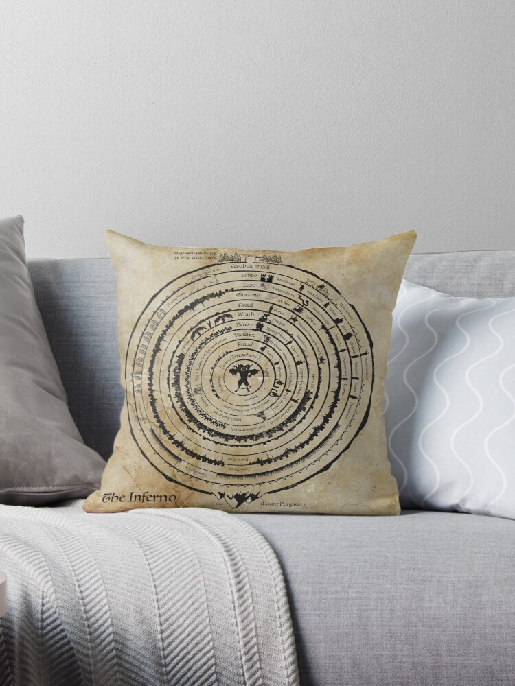 Map Of Hell Throw Pillow By Moviemaniacs