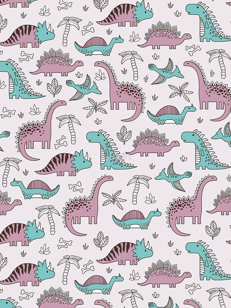 Ornament with dinosaurs, Jurassic Park. Adorable seamless pattern with funny dinosaurs in cartoon by alijun