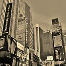 Times Square (Sepia) - New York by clarebearhh