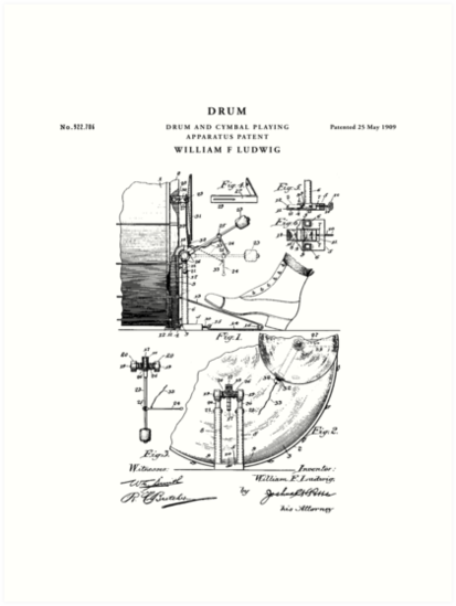 Drum set patent drawing blueprint art prints by vintago redbubble drum set patent drawing blueprint by vintago malvernweather Choice Image