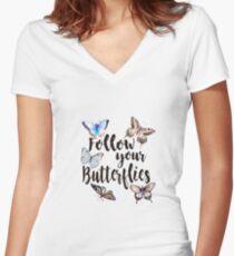 Follow your Butterflies Women's Fitted V-Neck T-Shirt