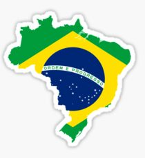 Brazil Flag Map Sticker