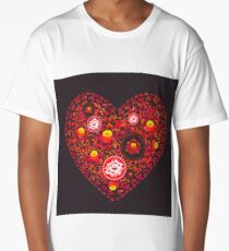 Valentine's Day card Heart made of red orange flowers on black background. Romantic invitation card.  Long T-Shirt