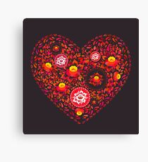 Valentine's Day card Heart made of red orange flowers on black background. Romantic invitation card.  Canvas Print